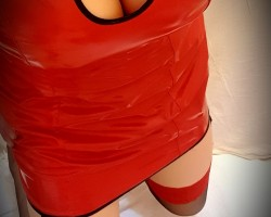 newhonour red pvc dress luv it