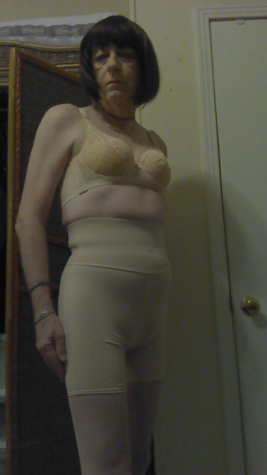 Wearing my girdle and bra. not very sexy but practical