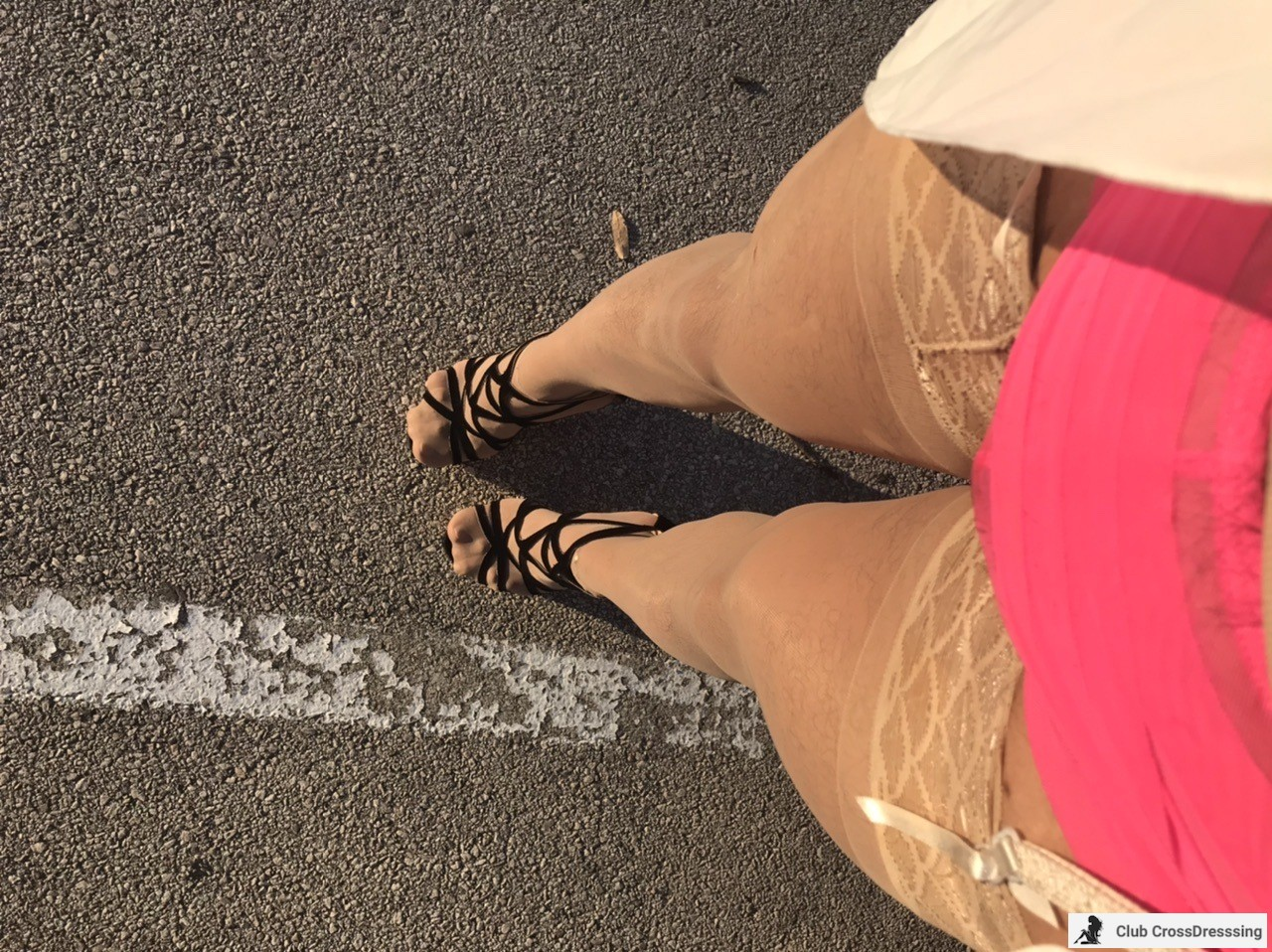Morning sun makes my stockings look so sexy.