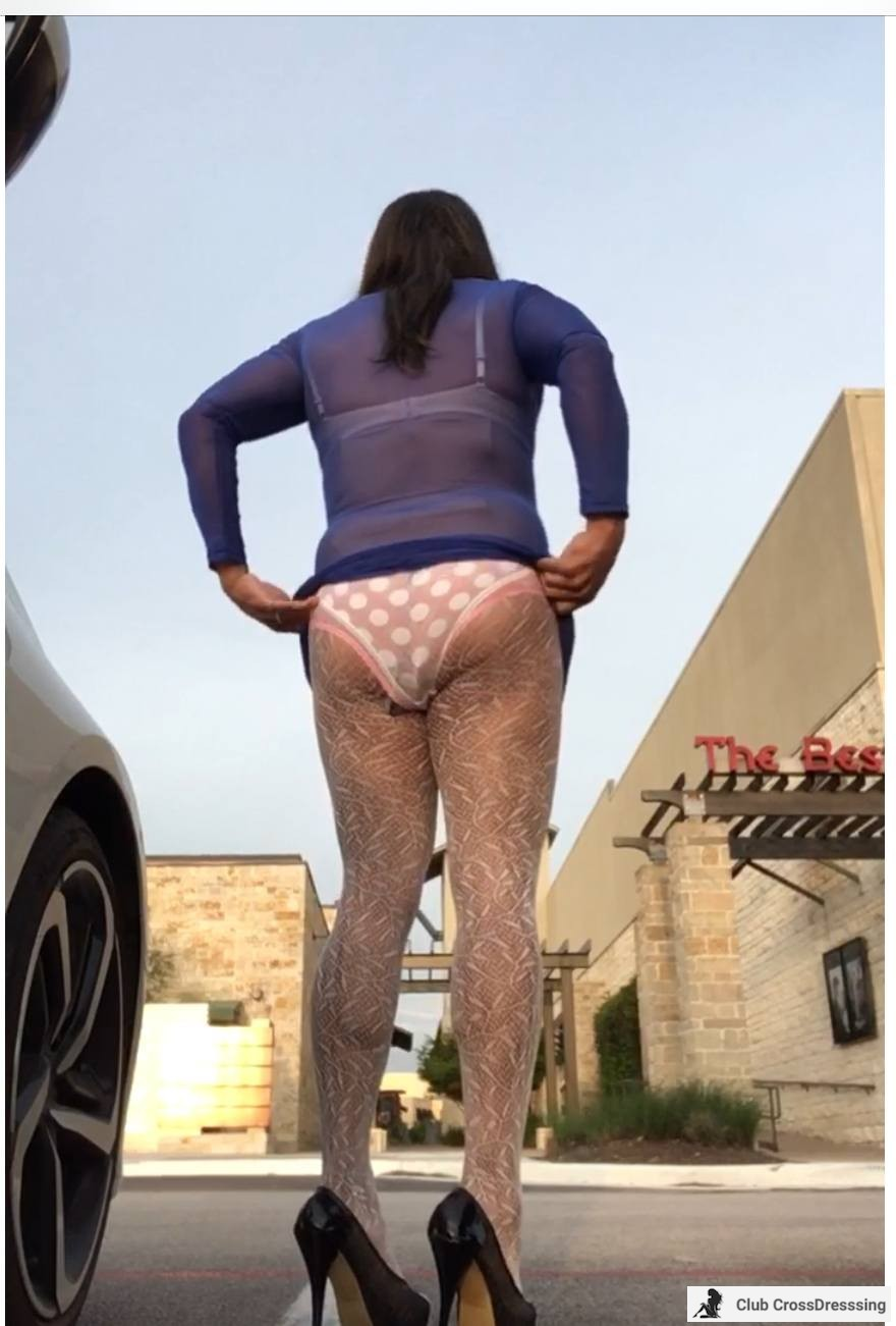 Adjusted my polka dot panties. Sun was just coming up. The designer tights are so soft and sexy.