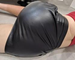 Leather skirt x