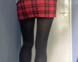 Red check skirt - July 2020