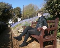 Model wears 200 denier black opaque tights