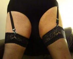Black panties and stockings.